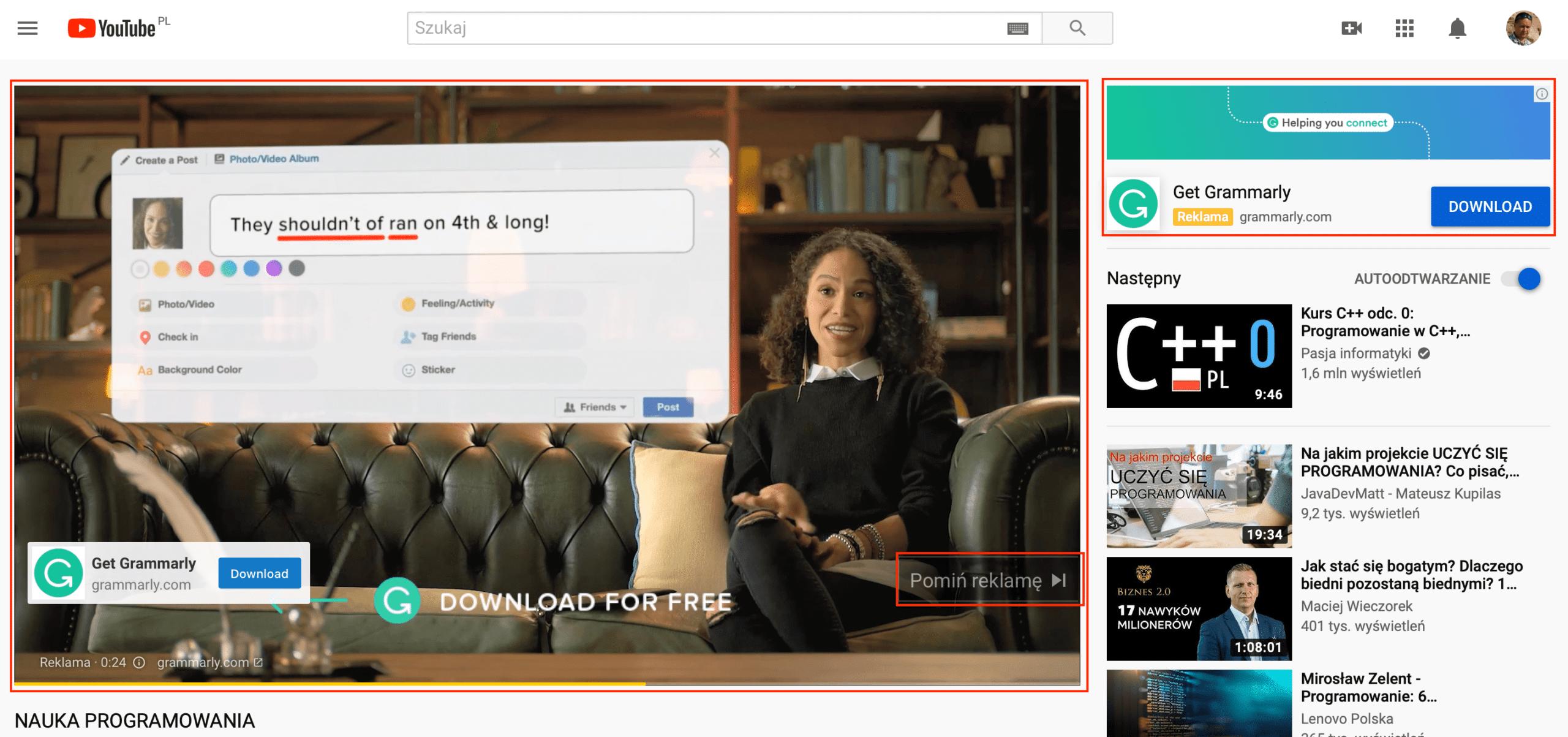 Reklama YouTube In-Stream Video